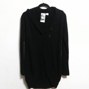 Red Paint Black Front Button Closure Cardigan